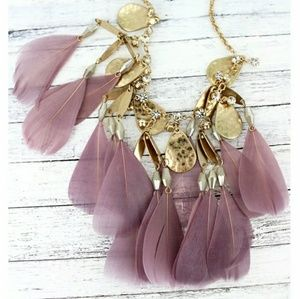 Gold Crystal & Lavender Feather Necklace